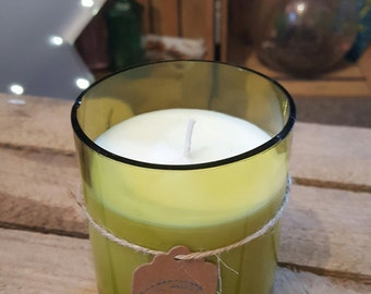 Recycled Wine Bottle Soya Candle - Light Green