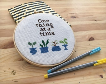 One Thing At A Time Inspirational Cross Stitch Wall Art