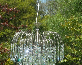 Pretty unusual chrome 40% Swarovski Chandelier (B40)