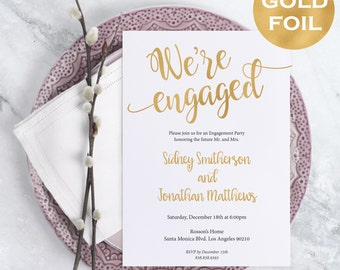 Printable Engagement Party Invitation - Gold Wedding Invitation - Wedding Template - Wedding Printable - DIY - Downloadable Wedding #WDH0205
