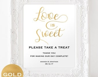 Love is Sweet Sign - Reception Sign - Take a Treat Sign - Wedding Printable  - Dessert Table Sign - Downloadable wedding #WDH0233