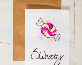 Watercolor postcard Candy Sweety