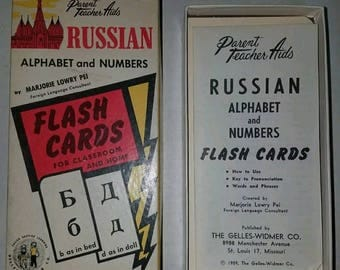 Vintage Set of Russian Flash Cards from 1959