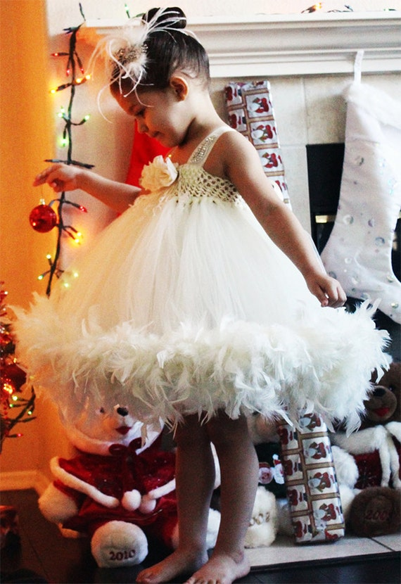 Flower Girl tutu Dress, Tulle Ivory dress, feather Flower Girl Dress, plum dress, peach, aqua dress, teal dress, white dress, blue dress