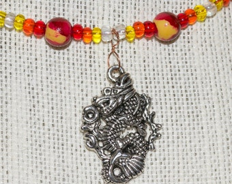 Fiery Oriental Dragon Pendant With Red, Orange, Yellow Glass Beads