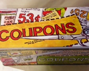 1980s Vintage Rare Tin Coupon Keeper/Recipe Box/Coupon Tin
