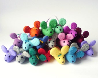 1 cat toy felt mouse with color choice, cats, rattle, felt rattle, rattle, rattle mouse