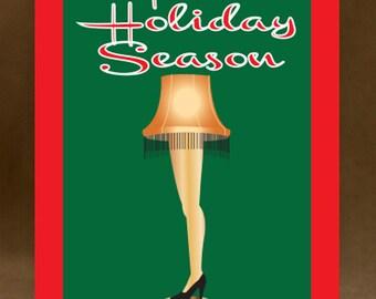 Christmas Card - Merry Christmas - Leg Lamp - Greeting card -  holiday card - DIY PRINTABLE