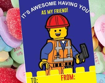 Lego Kids Valentine Card Valentine's Day Card Kid Valentine Kid Kid Valentine Class  Valentine's Day Card VALENTINE day kid