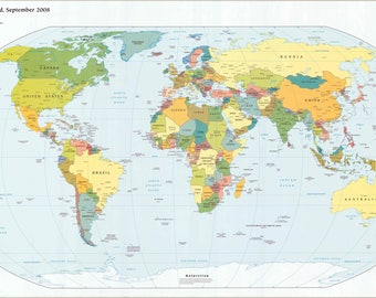 Digital modern world map hight printable - download. Large world map Digital. PRINTABLE map. High resolution world map
