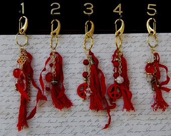 Clip on Bag charm, Beaded Key chain, Tassel, Key Chain, Fob, Purse Charm, Pocket Cluster Charms. Pick number over key chain