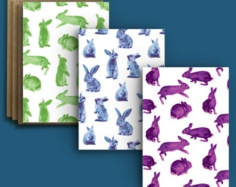 Bundle of Bunnies - Three 5x7 Rabbit Greeting Cards/Notecards (A7) - Stationery that's perfect for any occasion!