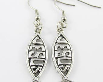 Jesus Christian Fish Symbol Charm Hook Earrings 50mm Stainless Steel Hooks