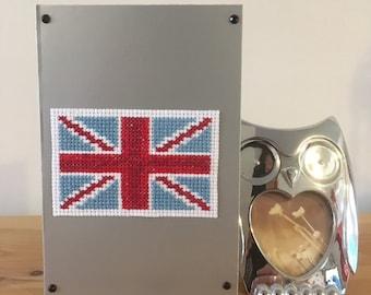 Union Jack cross stitch card, greetings card, handmade card, blank card, Great Britain card, bon voyage card, gap year, travelling, flag