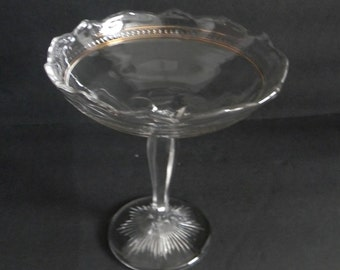 Clear glass vintage compote with decorative long stem