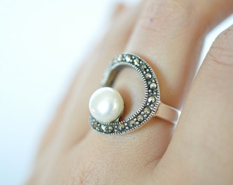 Pearl and Marcasite Circle Statement Ring