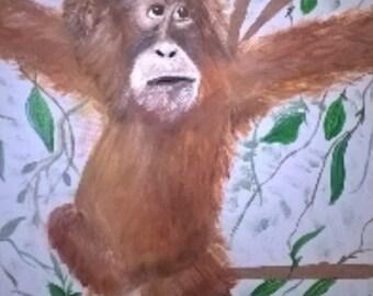 Original Painting , 16x20 Orangutan