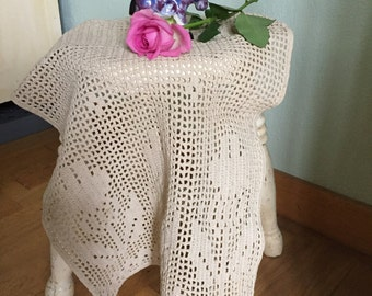 Crochet Chair back cover, protector, sofa cover, Vintage lace filet panel tulips ecru window treatment