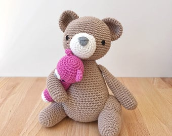 TEDDY BEAR amigurumi holding a pink bear rattle, crochet teddy bear, amigurumi teddy bear, crochet rattle, baby toy, baby gift, baby shower