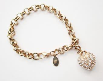 """ON SALE Vintage  Nolan Miller Gold Tone Puffy Heart Crystal Rolo Bracelet 7 3/4"""""""