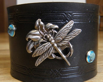 Leather Bracelet with a Dragonfly concho and 2 Auqa Marine colored gems, Coal Black, Handmade