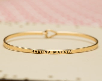 "Bangle Bracelet, ""Hakuna Matata"" Disney jewelry it means no worries, lion king gold rose gold silver mantra band bangle bridesmaid gift"