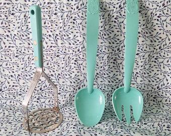 Retro Turquoise utensil lot, 3pc masher spoon fork