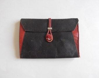 antique black and red clutch handbag purse