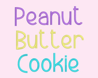 5 Size Peanut Butter Cookies Font Embroidery Fonts BX  9 Formats Embroidery Pattern Machine BX Embroidery Fonts PES
