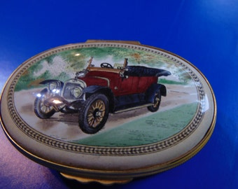 Halcyon Days Enamel trinket box 1912 Sunbeam Tourer automible