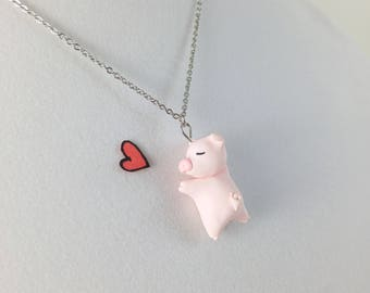 Cute Pig Necklace // Polymer Clay Pig Miniature // Pink Necklace Gift for Girls and Gift for Women