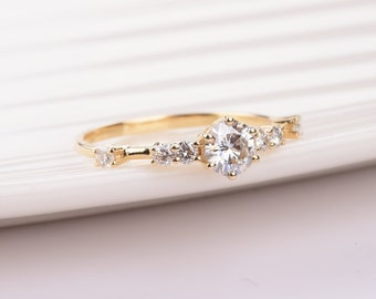 Minimal Moissanite Engagement Ring in 14k Yellow Gold, Diamond Alternative engagement ring,