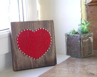"Table to ask or to hang String Art ""Red heart"" 15cm * 14.5 cm"