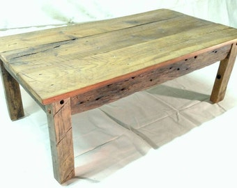 "24""x44""x16"" Handmade coffee table hand hewn reclaimed hardwood base with reclaimed t&g pine top"