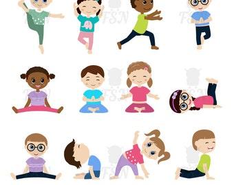 Kids doing yoga in different positions. Digital Clipart. Children yoga Digital Vector. Children doing yoga Childhood Clip Art