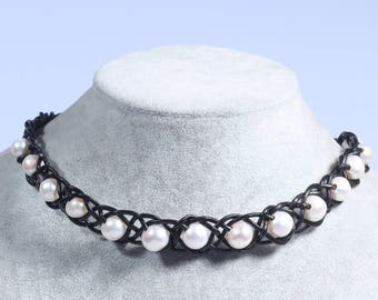 Pearl Choker Necklace - Pearl Leather Necklace - Leather Choker Necklace - Freshwater Pearl Jewelry Wedding Pearl Choker Gift For Bridesmaid