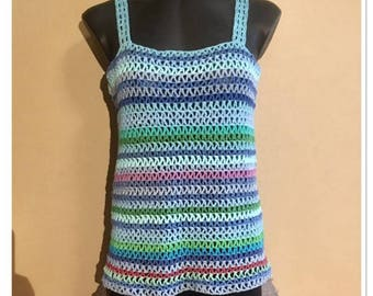 Crocheted tank top in blue/green colors, size L