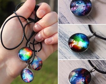 Galaxy bubble necklace