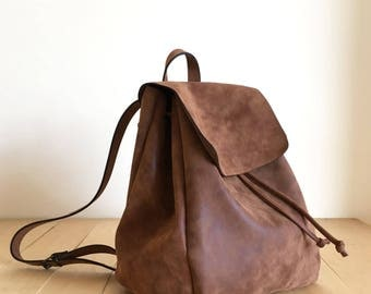 Mothers Day Gift - Leather Brown Backpack - Vegan Backpack - Water Resistant - Vegan Leather - Rustic Leather - Gift for mum