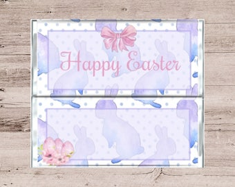 Purple Pastel Bunny Chocolate Bar Wrapper-Easter Candy Bar Wrapper-Purple Easter Chocolate Bar Wrapper-Pastel Easter Candy Bar Wrapper