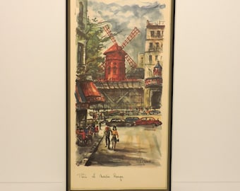 Vintage Arno MOULIN ROUGE Print, framed