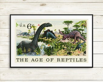 age of reptiles poster, dinosaur posters, dinosaur birthday banner, dinosaur banner, dinosaur art, dinosaur kids room, dinosaur birthday art