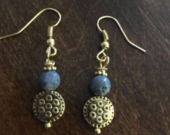 Blue coral and gold bead drop earrings