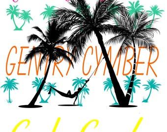 Personalized Palm Tree Beach Towel