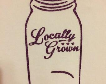 Mason Jar Onesie 6-12 Months Locally Grown long sleeve