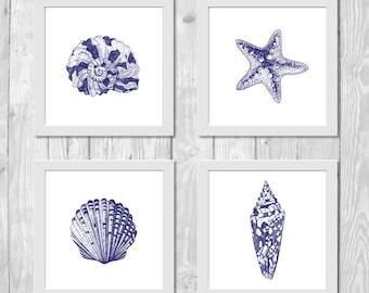 Coastal Print Set, Beach Printable Art, Nautical Digital Print Set, Nautical Wall Decor, Beach House Decor, Beach Bathroom Decor