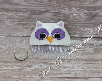 Owl Hair Comb / Embroidered Hair Comb