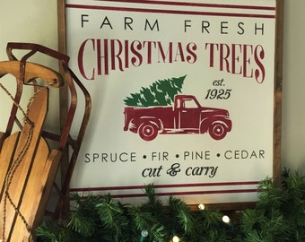 2x2 Vintage Christmas Tree Farm Wall Decor Framed Wood Sign Retro Vintage Red Truck