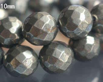 10mm Pyrite Beads,Iron Pyrite Beads, Faceted Iron Pyrite Beads,15 inch one strand