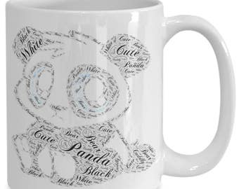 ADORABLE PANDA MUG! Cute and Cuddly and Adorable Black and White Panda on a 15 oz White Ceramic Coffee Cup / Tea Cup / Coffee Mug!